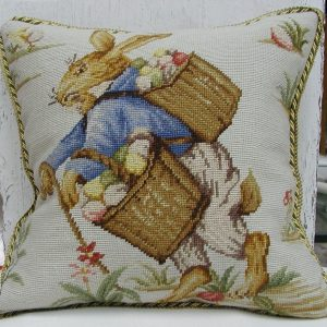 18 x 18 Handmade Wool Needlepoint Rabbit Easter Bunny Cushion Cover Pillow Case 12980147