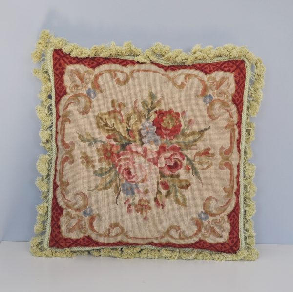 """18"""" x 18"""" Handmade Wool Needlepoint Roses Cushion Cover Pillow Case 12980103"""