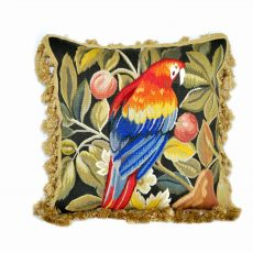 18x18 Hand-woven Parrot French Gobelin Tapestry Weave Wool and Silk Aubusson Pillow Cover 12980035