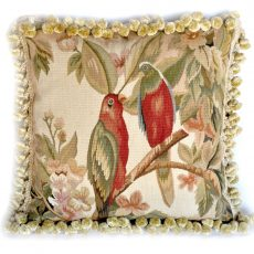 "18""x18"" Handmade Parrot French Gobelins Tapestry Weave Wool and Silk Aubusson Cushion Cover Pillow Case 12980034"