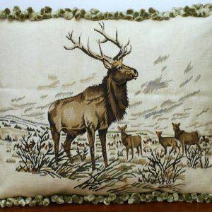 "19"" x 23"" Handmade Moose Elk French Gobelin Tapestry Wool Aubusson Cushion Cover / Pillow Case 12980014"