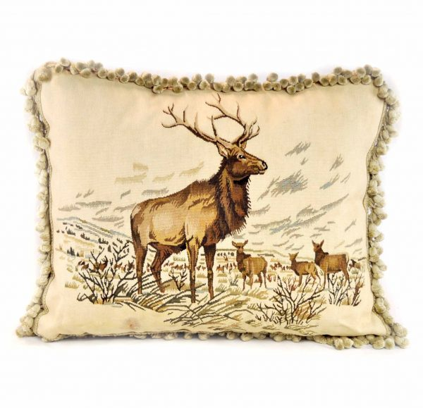 19x23 Handmade Moose Elk French Gobelin Tapestry Wool Aubusson Cushion Cover Pillow Case 12980014
