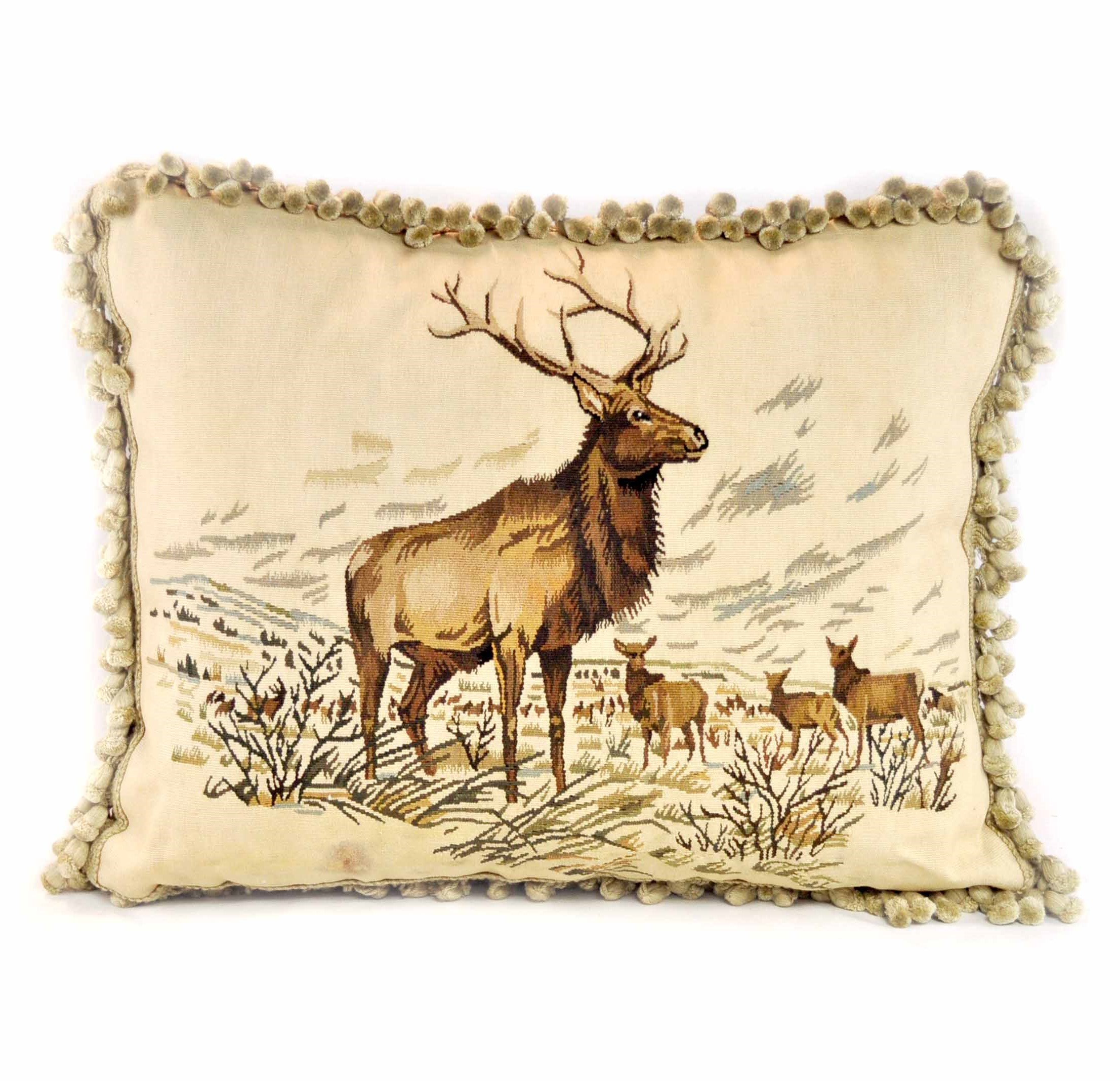 19×23 Handmade Moose Elk French Gobelin Tapestry Wool Aubusson Cushion Cover  Pillow Case 12980014