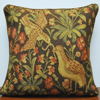 "20"" x 20"" Antique Reproduction Pair of Birds French Gobelins Tapestry Wool Aubusson Cushion Cover Pillow Case 12980031"