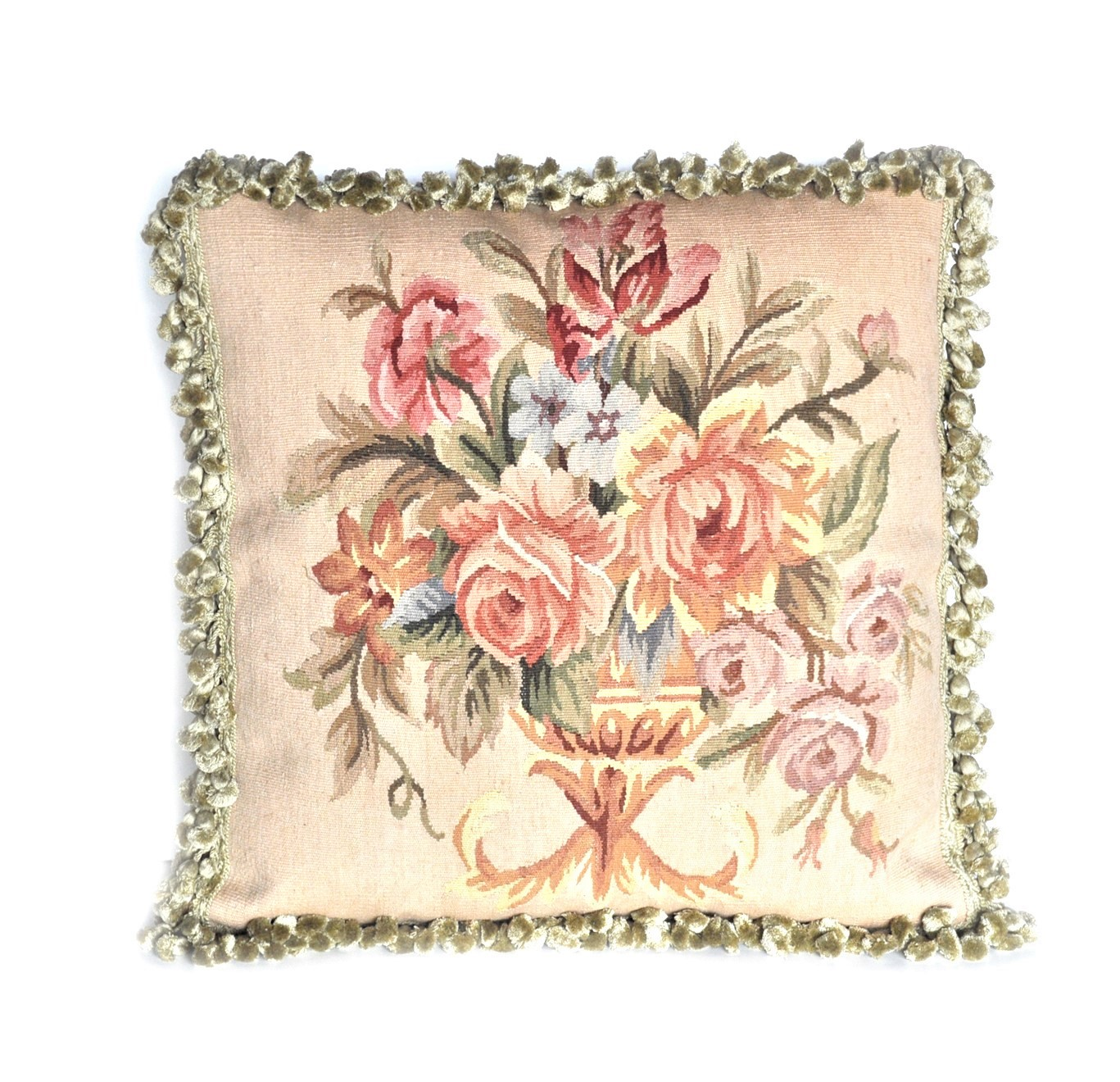 20″ x 20″ Handmade Antique Reproduction Gobelin Tapestry Wool and Silk Aubusson Cushion Cover Pillow Case 12980015