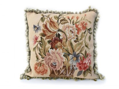 """20"""" x 20"""" Handmade Antique Reproduction Gobelins Tapestry Wool Aubusson Basket of Flowers Cushion Cover Pillow Case 12980010"""