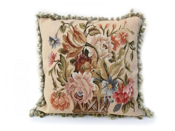 "20"" x 20"" Handmade Antique Reproduction Gobelins Tapestry Wool Aubusson Basket of Flowers Cushion Cover Pillow Case 12980010"