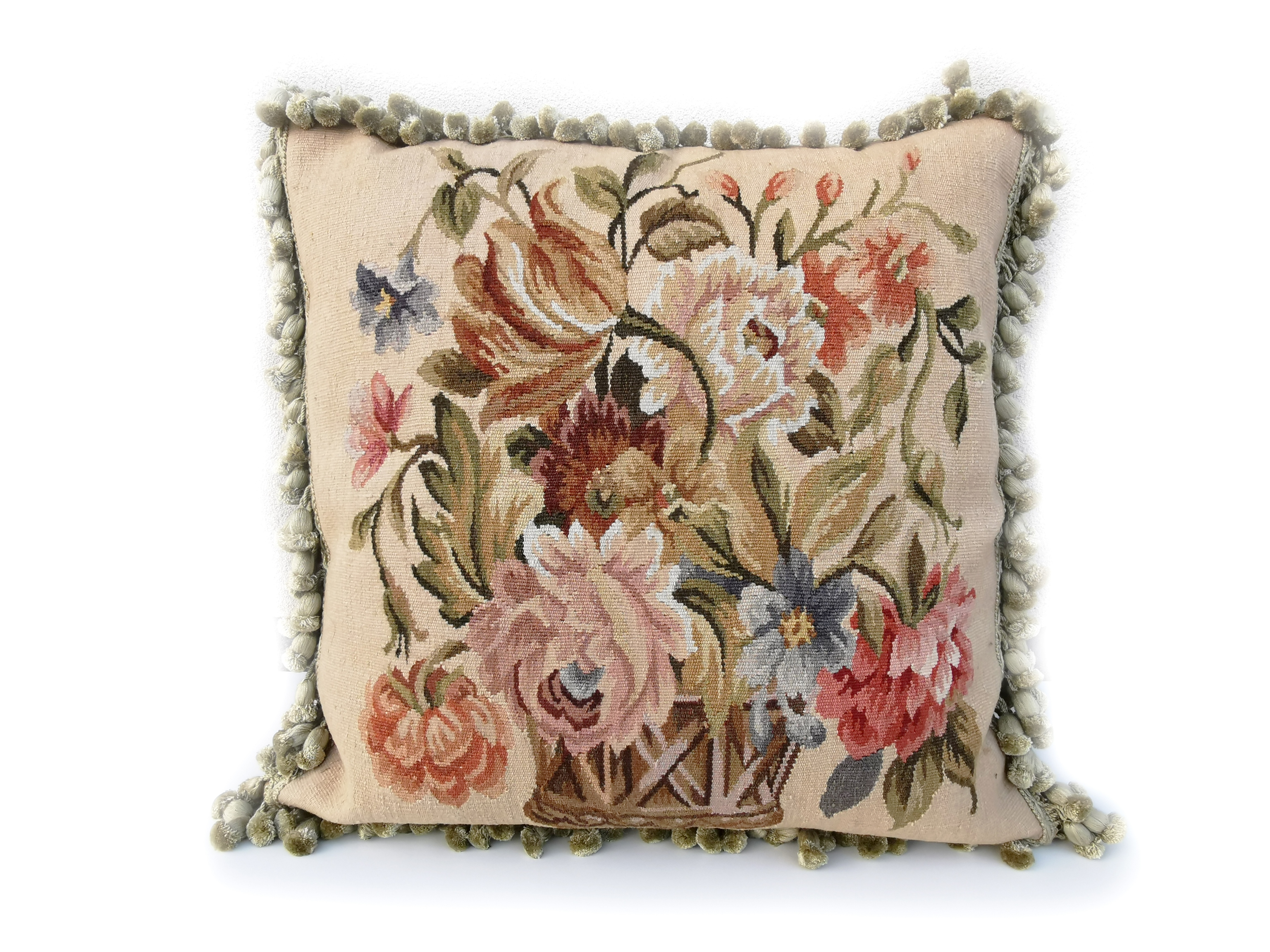 20″ x 20″ Handmade Antique Reproduction Gobelins Tapestry Wool Aubusson Basket of Flowers Cushion Cover Pillow Case 12980010