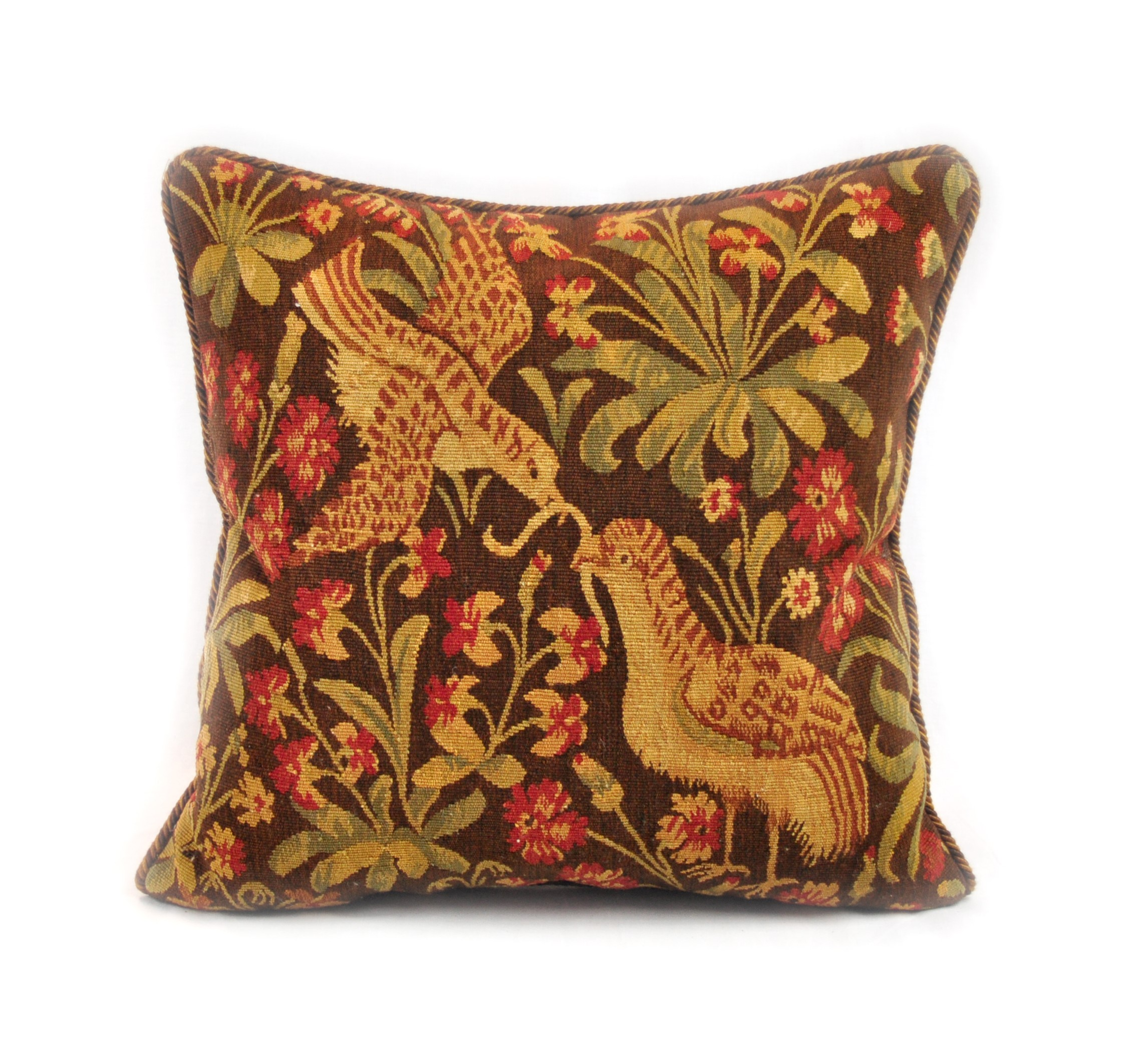 20×20 Antique Reproduction Pair of Birds French Gobelins Tapestry Weave Wool Aubusson Cushion Cover Pillow Case 12980031