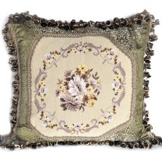 "22"" x 22"" Handmade Wool Needlepoint Petit Point Daisy Cushion Cover Pillow Case 12980055"