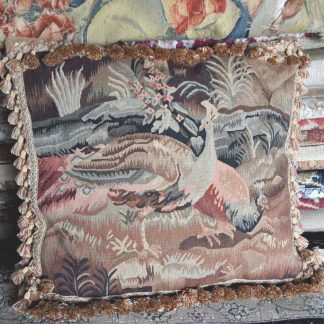 "22"" x 24"" Handmade Peacock French Gobelins Tapestry Weave Wool Aubusson Cushion Cover Pillow Case 12980011"