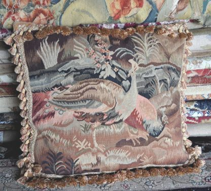 """22"""" x 24"""" Handmade Peacock French Gobelins Tapestry Weave Wool Aubusson Cushion Cover Pillow Case 12980011"""