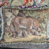 "22"" x 28"" Handmade French Gobelins Tapestry Weave Wool Aubusson Leopard Cushion Cover Pillow Case 12980019"