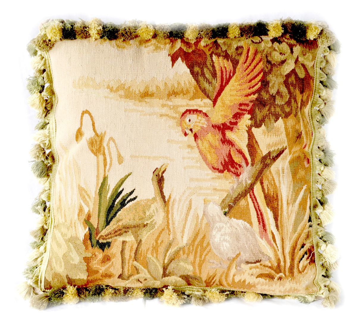 22″x22″ Handwoven French Gobelins Tapestry Weave Wool Parrot Aubusson Cushion Cover Pillow Case 12980043