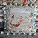"22""x22"" Rooster Aubusson Pillow Cover 12980008"