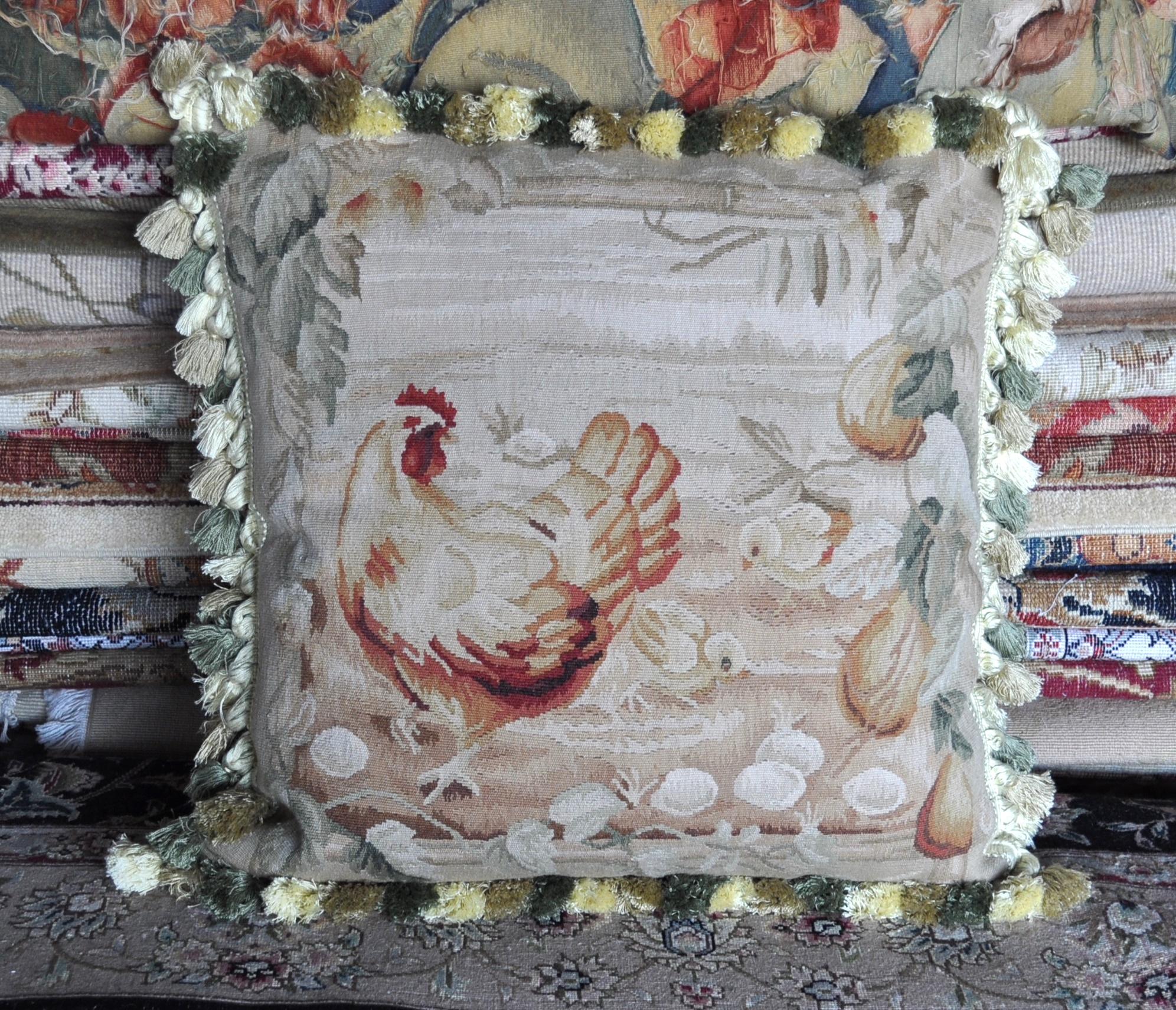 22″x22″ Rooster Aubusson Pillow Cover 12980008