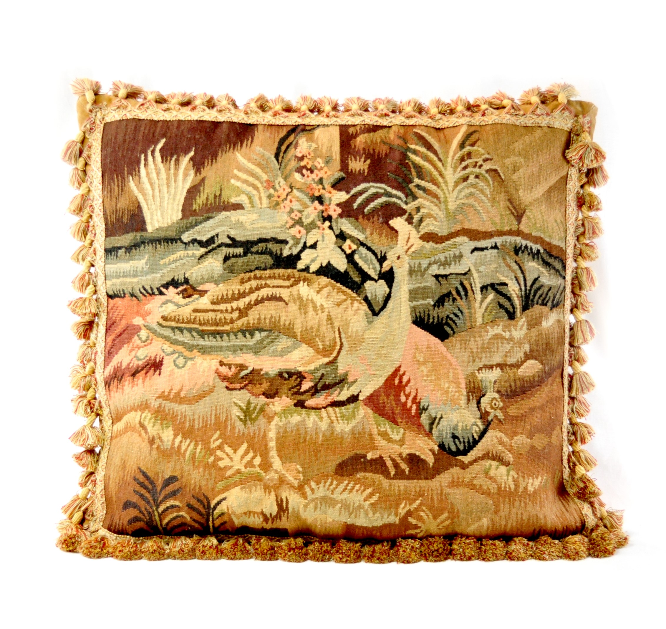 22″x24″ Handmade Peacock French Gobelins Tapestry Weave Wool Aubusson Cushion Cover Pillow Case 12980011
