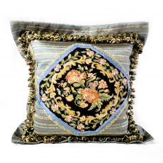 "24""x24"" Handmade Wool Needlepoint Petit Point Black Cushion Cover Pillow Case 12980056"