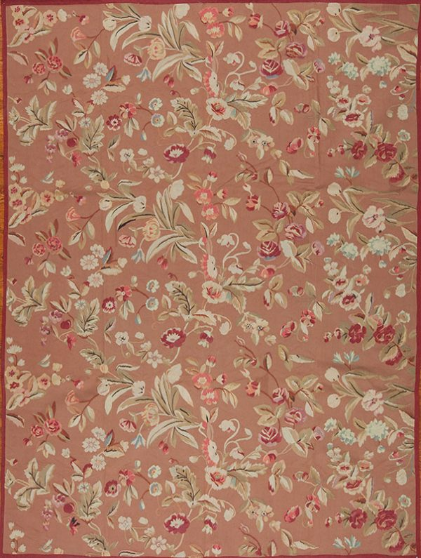 "9'3"" x 12'3"" Hand-woven Wool French Aubusson Weave Rug"