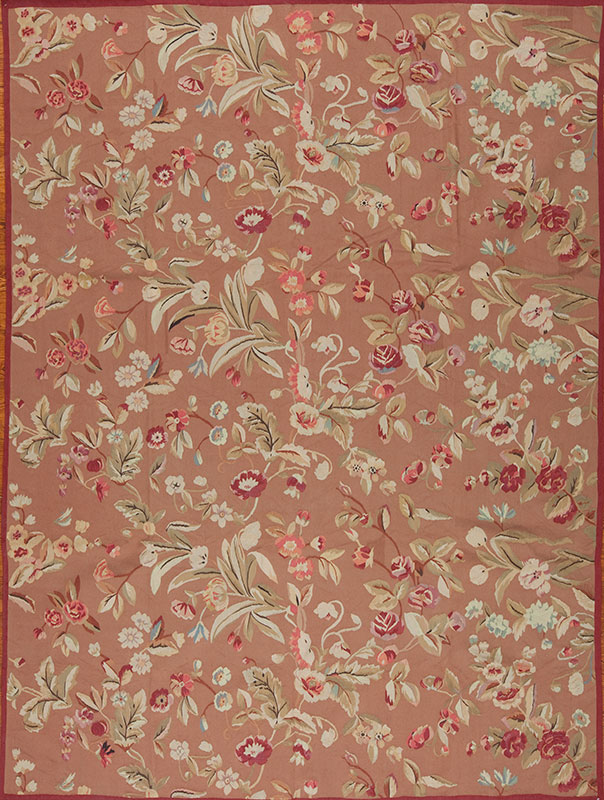 9'3″ x 12'3″ Hand-woven Wool French Aubusson Weave Rug
