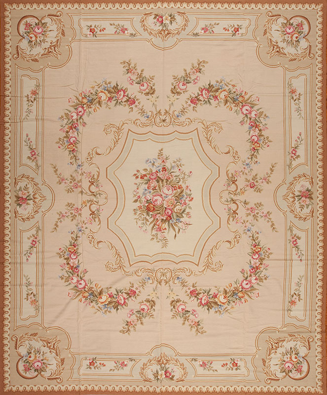 12′ x 15′ Oversize Hand-woven Wool French Aubusson Weave Rug