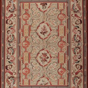 "10' x 14'4"" Hand-woven Wool French Aubusson Weave Rug"
