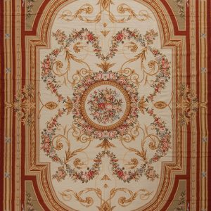 11' x 16' Oversize Hand-woven Wool French Aubusson Weave Rug