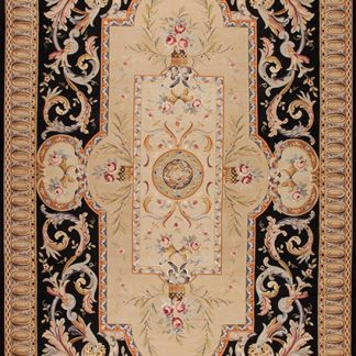 "13'6"" x 26'6"" Oversize Hand-woven Wool French Black Aubusson Flat Weave Runner Rug"