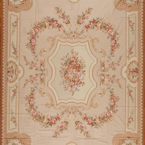 12' x 15' Oversize Hand-woven Wool French Aubusson Weave Rug