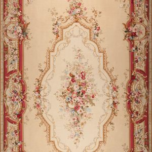 "16'3"" x 30'3"" Hand-woven Wool French Aubusson Weave Runner Rug"