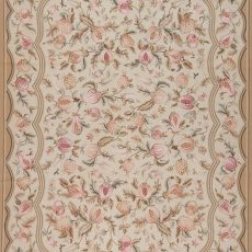 9' x 12' Hand-woven Wool French Aubusson Weave Rug