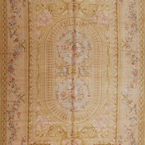 11' x 18' Oversize Hand-knotted Thick and Plush Wool French Savonnerie Double Medallion Rug