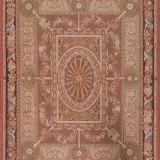 8' x 10' Hand-woven Wool French Aubusson Weave Rug