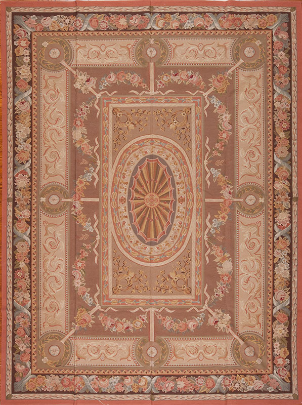 "10' x 13'6"" Hand-woven Wool French Aubusson Weave Rug"