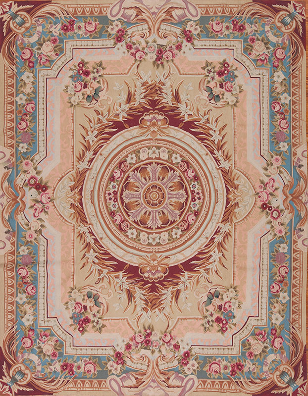 8′ x 10′ Hand-woven Wool French Aubusson Weave Rug