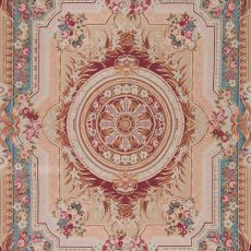8' x 10' Hand-woven Wool French Aubusson Rug