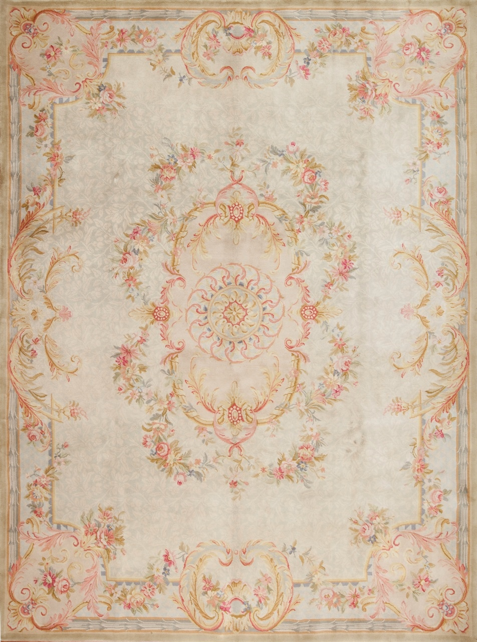 9 X 12 Hand Knotted Thick And Plush Wool French Savonnerie Rug