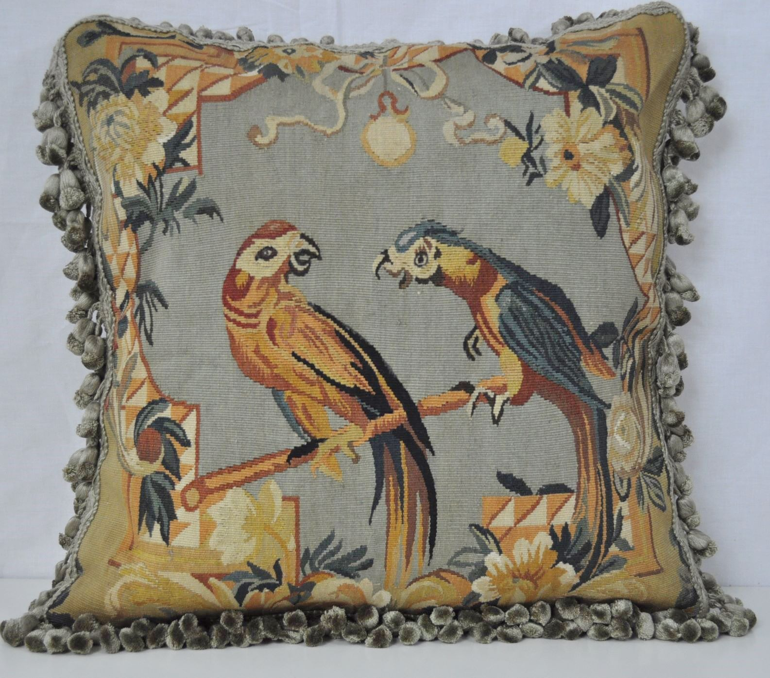 20″ x 20″ Handmade Pair of Parrots French Gobelins Tapestry Weave Wool Aubusson Cushion Cover/Pillow Case