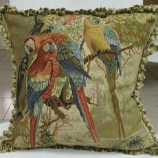 Handmade Aubusson Parrot Pillow 22x22