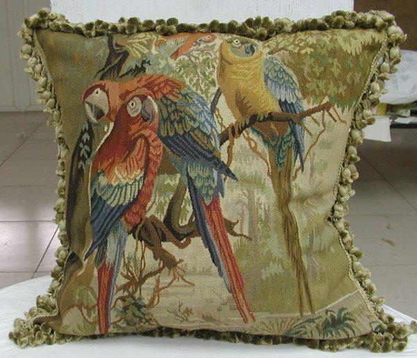 Handmade Aubusson Parrot Pillow 22x22