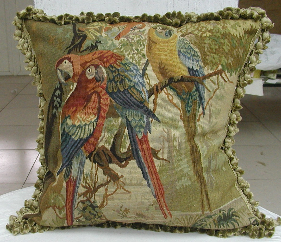 Handmade Aubusson Parrot Pillow