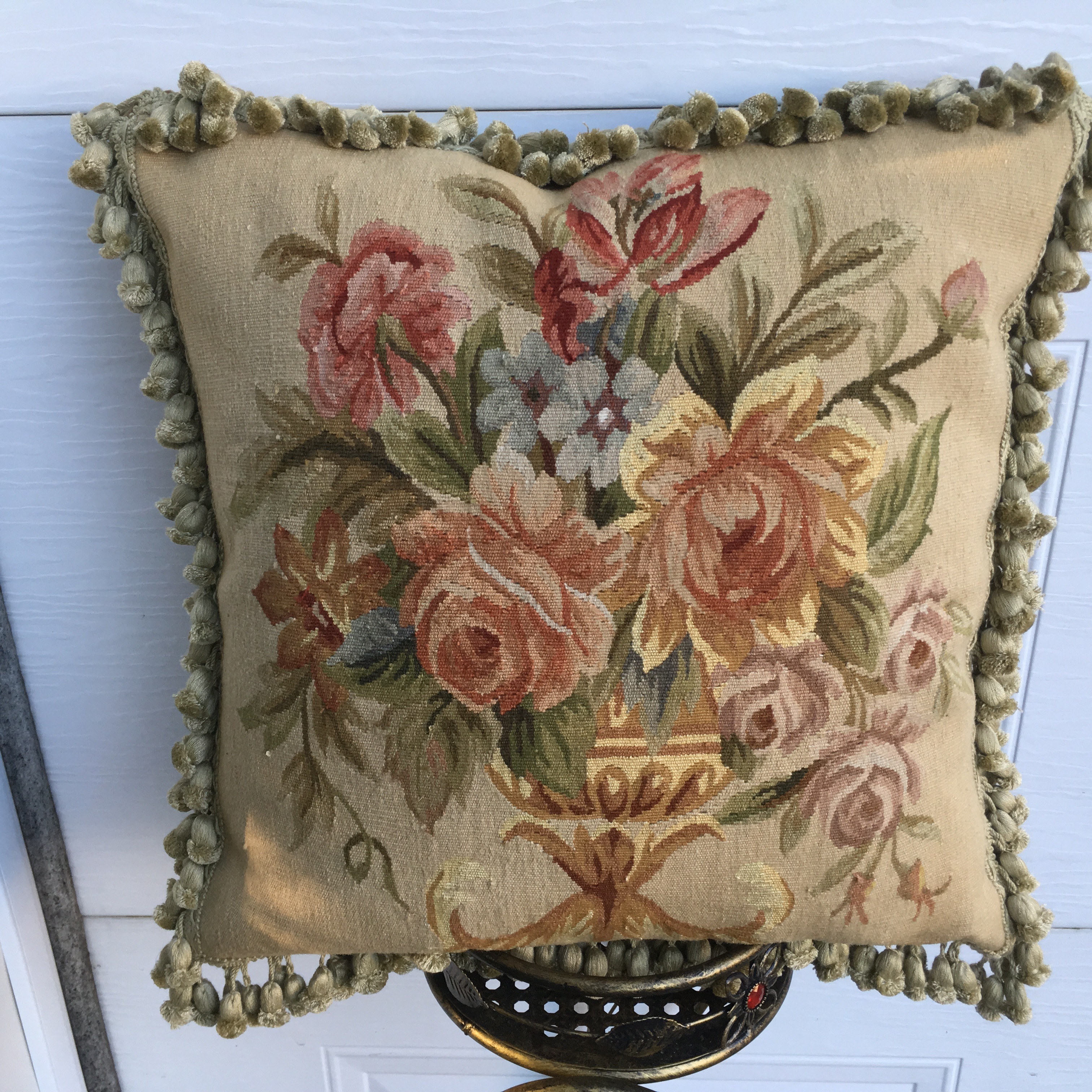 20″ x 20″ Handmade Antique Reproduction Gobelin Tapestry Wool Aubusson Cushion Cover Pillow Case 12980015
