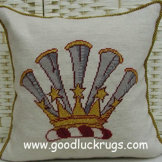16x16-handmade-wool-needlepoint-crown-pumpet-cushion-cover-pillow-case