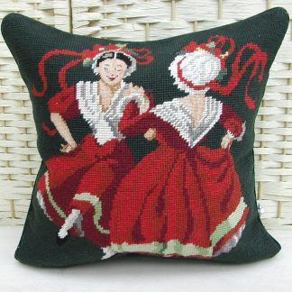 14x14 Handmade Wool Needlepoint Petit Point Dancing Ladies Cushion Cover Pillow Case