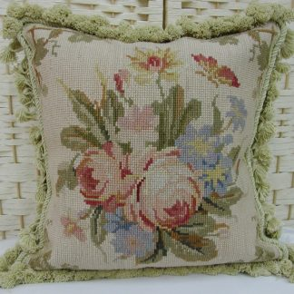 "14"" x 14"" Handmade Wool Needlepoint Butterfly Cushion Cover Pillow Case"