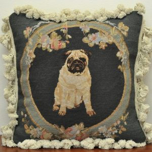 "16"" x 16"" Handmade Wool Needlepoint Petit Point Pug Dog Cushion Cover Pillow Case"