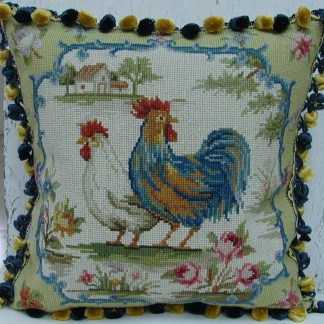 "16"" x 16"" Handmade Wool Needlepoint Rooster Cushion Cover Pillow Case"
