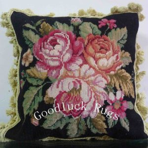 "16"" x 16"" Handmade Wool Needlepoint Black Cushion Cover Pillow Case"