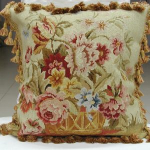 "18"" x 18"" Handmade Wool Needlepoint Cushion Cover Pillow Case"