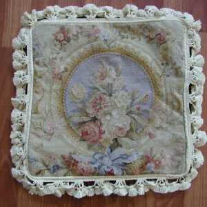 "16"" x 16"" Handmade French Blue Wool Needlepoint Petit Point Cushion Cover Pillow Case"